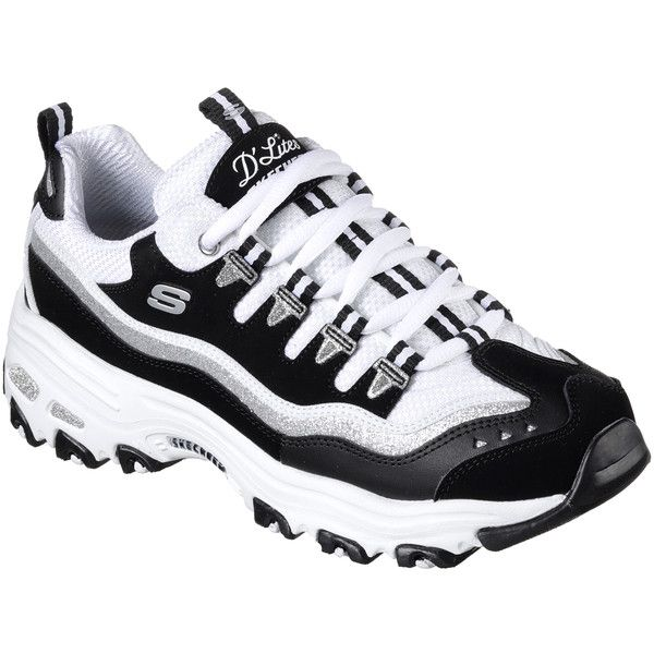 Skechers Women's D'lites - New Retro Black - Skechers ($65) ❤ liked on Polyvore featuring shoes, athletic shoes, black, black laced shoes, lace up shoes, synthetic shoes, laced shoes and black shoes