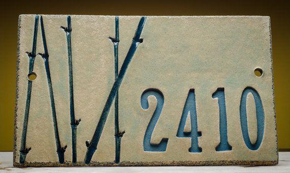 House Numbers Outdoor Address Plaque, Blue BAMBOO, Custom Ceramic Handmade Address Sign, Marion Pollmann Ceramics