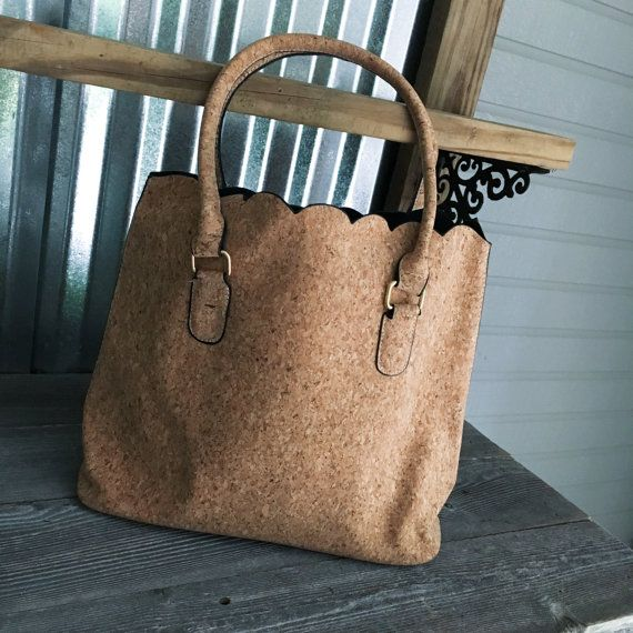 Luxurious Scalloped Cork Purse/Tote by EmmabellasDesigns on Etsy