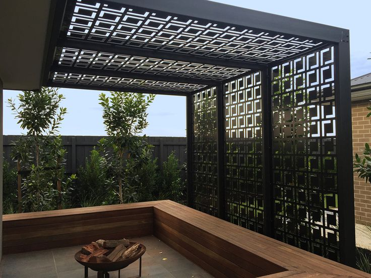 QAQ Decorative Screens  Panels Babylon design, shown here in black powder-coated ACM (aluminium composite material).
