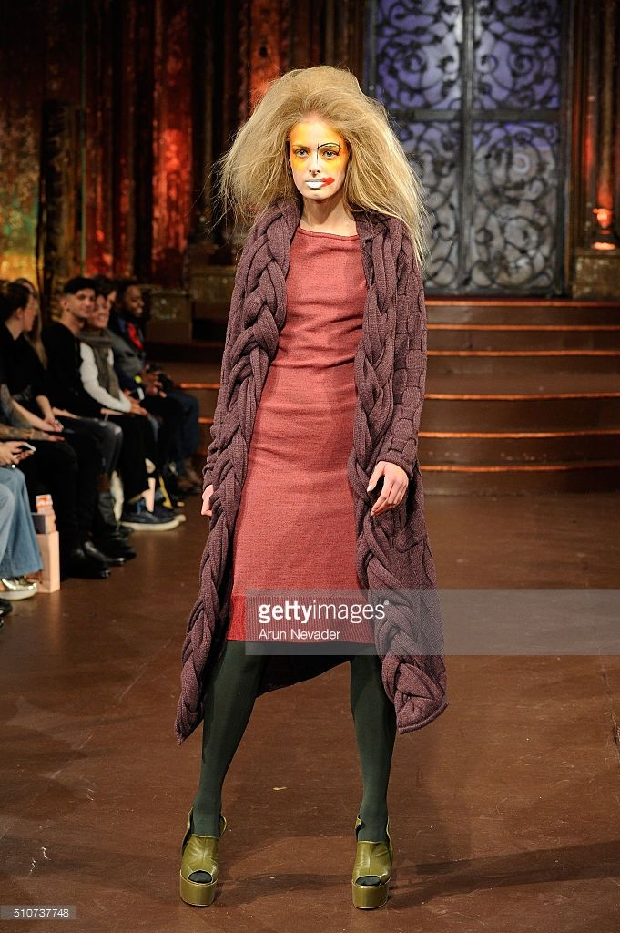 A model walks the runway at Catch Michelle - Art Hearts Fashion NYFW Fall/Winter 2016 at The Angel Orensanz Foundation on February 16, 2016 in New York City.