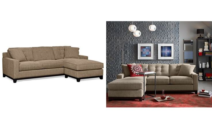 Clarke Fabric 2 Piece Chaise Sectional Queen Sleeper Sofa