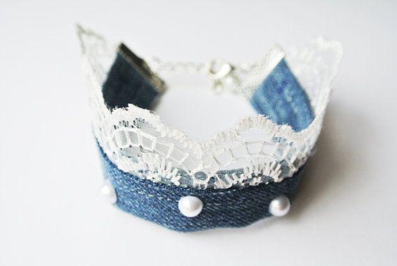 Bohemian Denim Bracelet Refined Denim Lace by InnessaBoutique