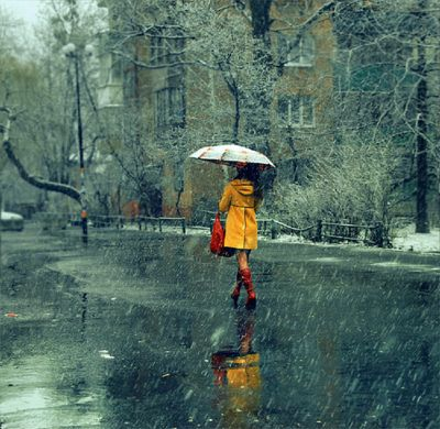 a walk in the rain: Rain Coats, Yellow Raincoat, Red Boots, Rainy Day, Bright Color, Red Umbrellas, Rain Jackets, Umbrellas Art, Yellow Coats