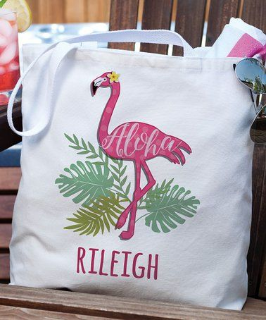44006354c Another great find on #zulily! 'Aloha' Flamingo Personalized Tote ...