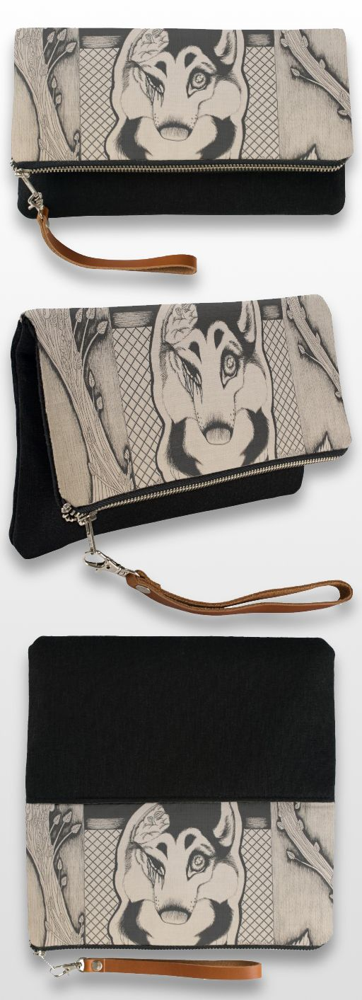 """Orca"" Black and White Illustrated Clutch Bag #GSD #German_shepherd_dog #dog_products #art #illustration #drawing #sepia #macabre #gothic"