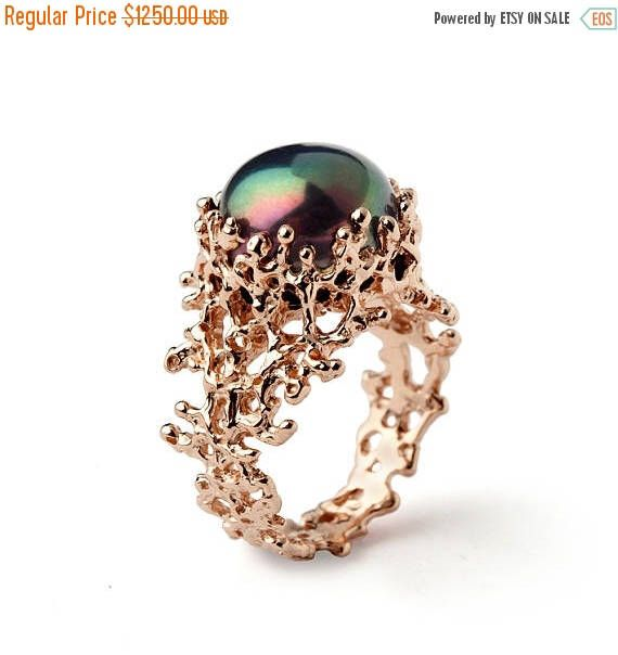 SALE 20% Off - CORAL Black Pearl Ring, Black Pearl Engagement Ring,  Rose Gold Engagement Ring, Rose Gold Pearl Ring, Rose Gold Ring by arosha on Etsy https://www.etsy.com/listing/209586614/sale-20-off-coral-black-pearl-ring-black