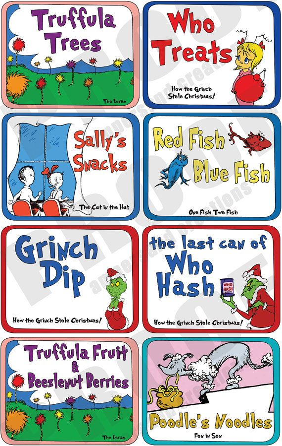 Dr. Seuss Deluxe Food Label Set by AmpersandCreations on Etsy $28 for 35 themed tags for a Seuss party