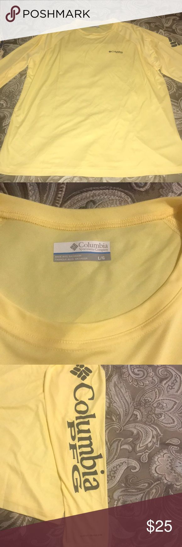 Men's Columbia PFG shirt Butter yellow. Breathable material. Never worn purchased the wrong size. Columbia shirt. Price is firm. Columbia Shirts Tees - Long Sleeve