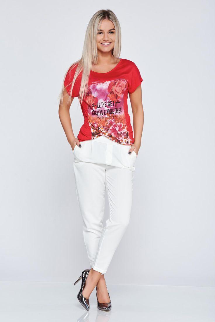 Comanda online, Pantaloni casual conici albe cu elastic in talie. Articole masurate, calitate garantata!