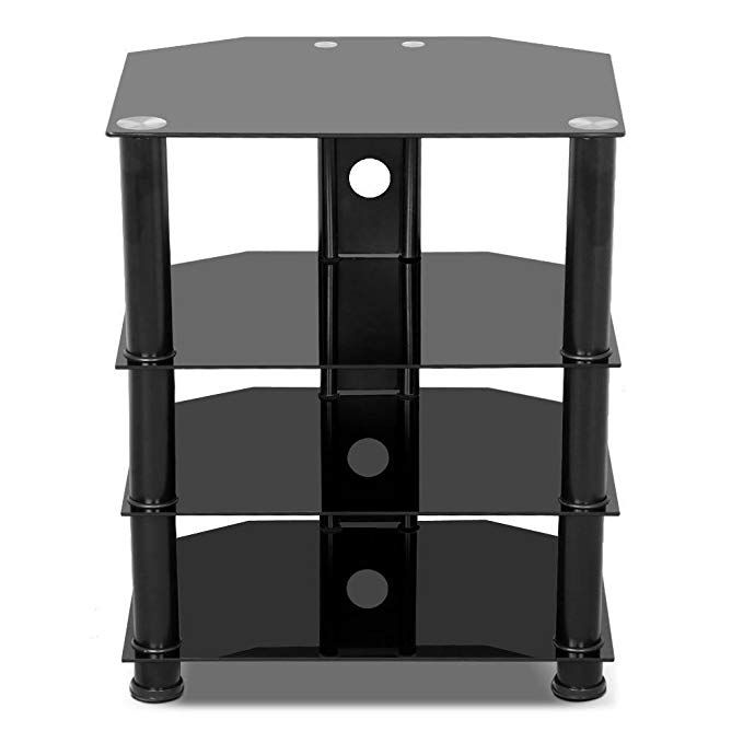 yaheetech 4 tier black glass component media stand audio video rack rh pinterest com