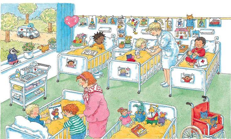In het ziekenhuis: zoekprent: zie je: -de amublance? -de verpleegster? -het kindje met de rode pyjama? -de rolstoel waar de blauwe knuffelpoes in zit? -de knuffelbeer met zijn arm en hoofd in het verband? -het kindje dat een spuitje krijgt? -de kar met verzorgingsspulletjes? -de gele knuffelhond? -de hartjesballon? -de waslijn met tekeningen en kaartjes?