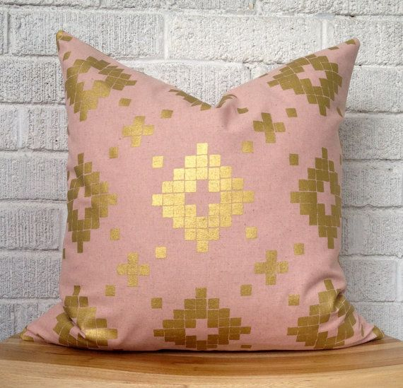 Blush Pink and Gold Aztec Pillow Cover, Pale Pink Metallic Shimmer 18 inch
