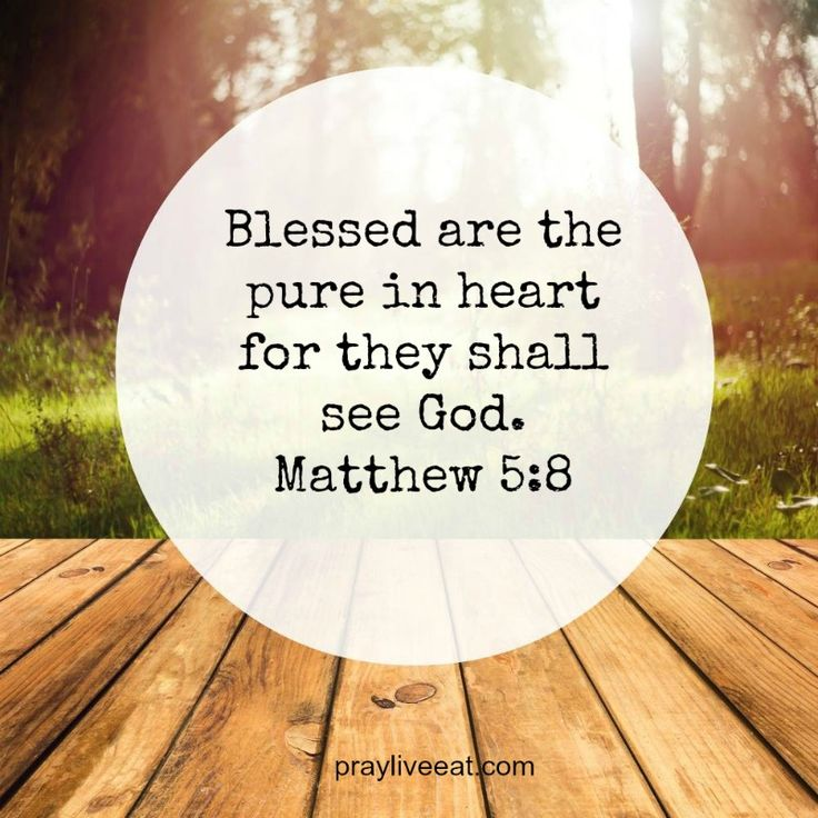 """""""Blessed are the pure in heart for they shall see God ..."""