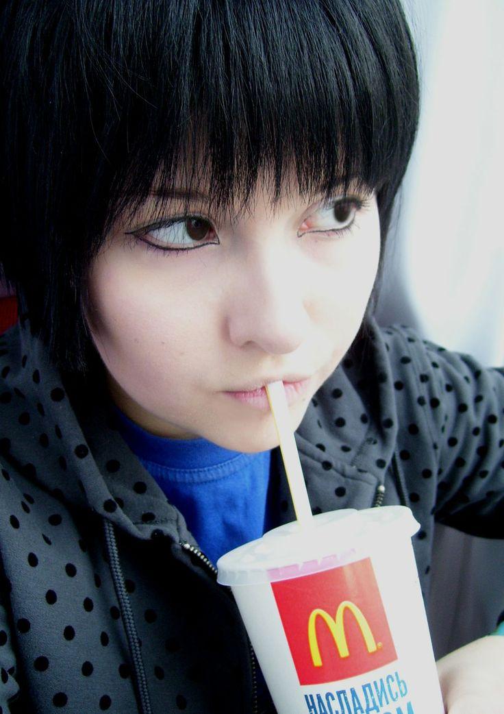 Globalisation of Japan APH by MunakataMira.deviantart.com on @deviantART - Kiku having McDonald's in Russia. I think that says it all.