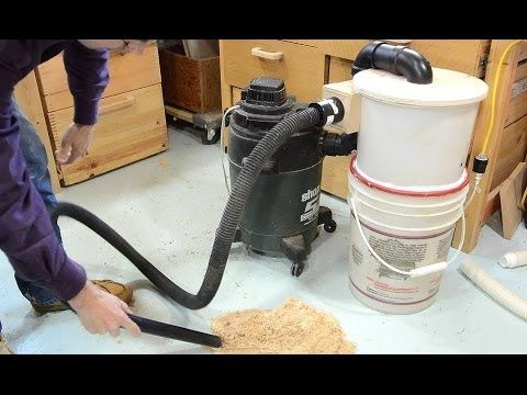 A cyclone for a 5 gallon bucket, made of another 5 gallon bucket. http://woodgears.ca/dust_collector/cyclone.html