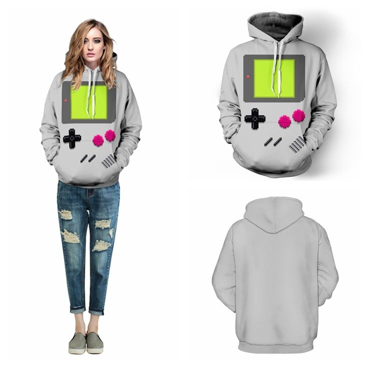 Grey PACMAN Games Skateboarding Hoodies Sport Autumn Winter Lady Sweatshirts Hooded Pullovers Pockets Long Sleeves Jacket FTQYDM #Affiliate