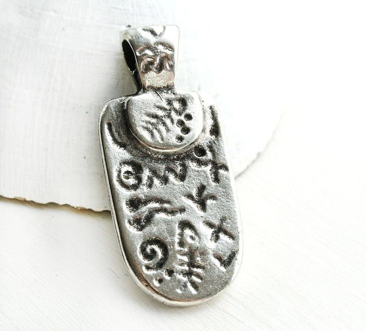 Antique Silver Primitive pendant, Ancient Symbols metal greek oval focal bead, Lead Free - 1Pc - F051 by MayaHoney on Etsy
