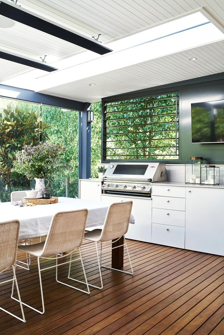 Five outdoor living designs for big and large backyards with tips on revamping your outdoor space with decking, mosaic tiles, outdoor kitchens and more.