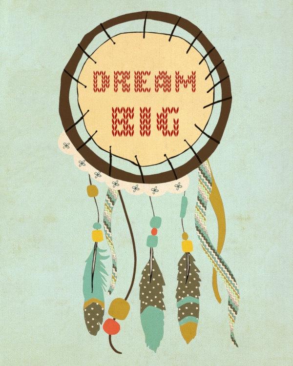 Home Decor Wall Art Tribal Native Decor - Catching Dreams - Custom Inspirational Typography Art Poster Southwest Native American. $20.00, via Etsy.