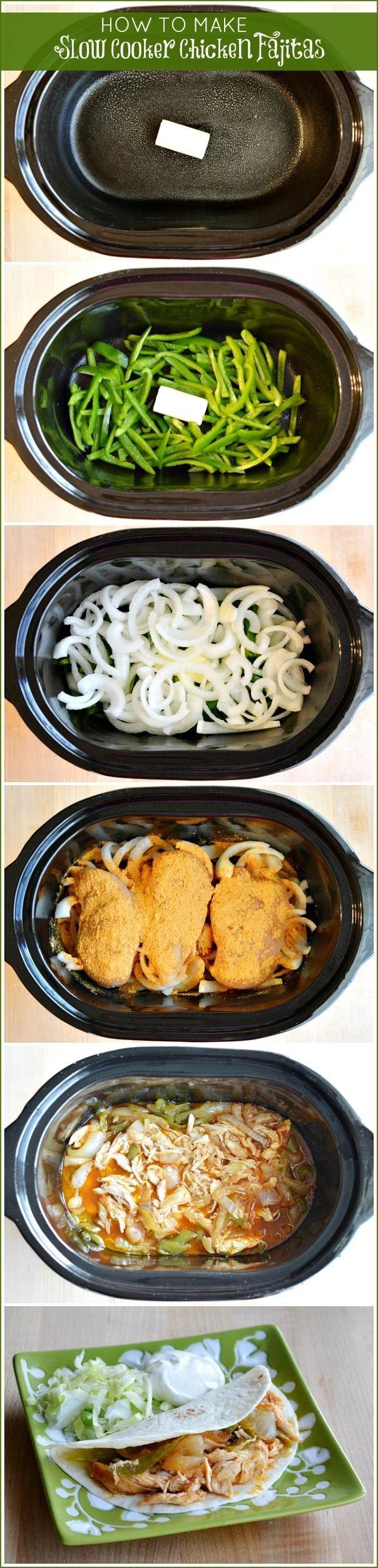 Slow cook chicken fajitas.