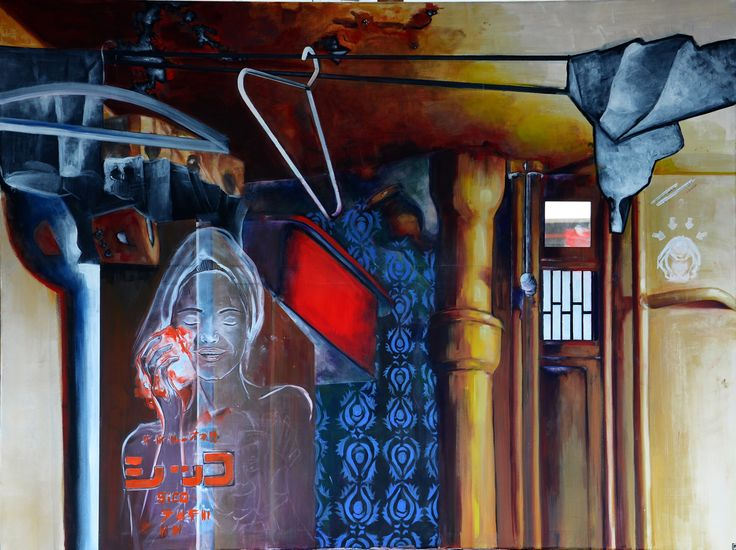 ''Łazienka-chinska reklama mydła'' Angelika Korzeniowska, olej na płótnie, 120 x 150 cm, 2014 r