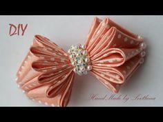 Бантик из ленты с бисером Канзаши DIY Bow of ribbon Kanzashi Laço de Cetim - YouTube