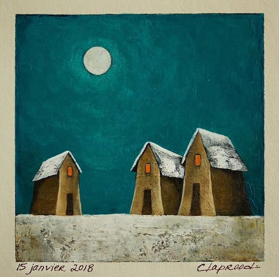 Winter scene painting small houses painting full moon &