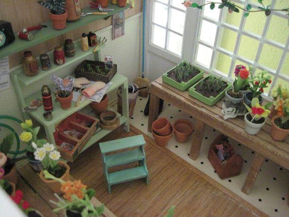 dollhouse greenhouse: Step Stools, Miniature Gardens, Dollhouses Greenhouses, Dollhouses Gardens, Miniatures Dollhouses, Dollhouse Miniatures, Gardens Sheds, Dollhouses Miniatures, Miniatures Gardens