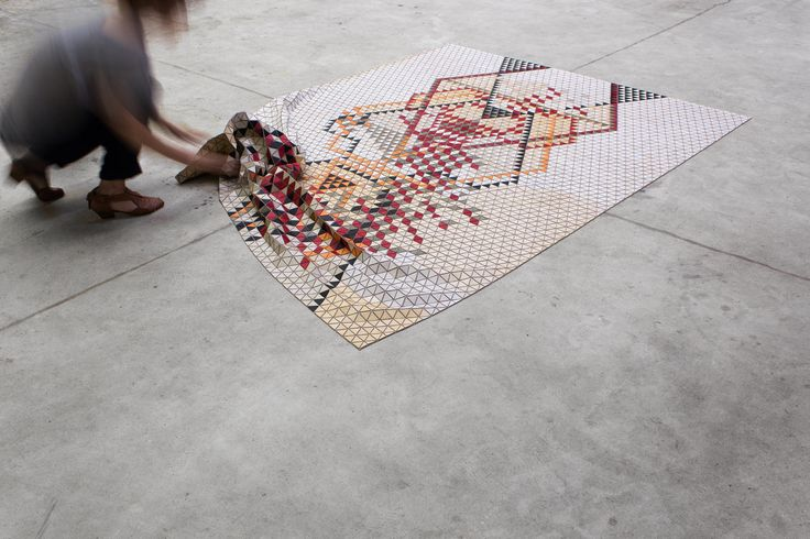 I didnt know whether to catagorise this under Art or Home details. Colored Wooden Rugs by Elisa Strozyk