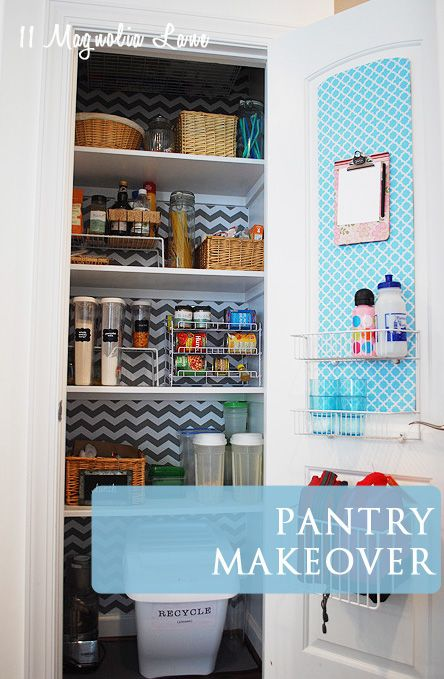 Organized Pantry With Chevron Shelf Paper Background The Doors Pantry Makeover And Small Pantry