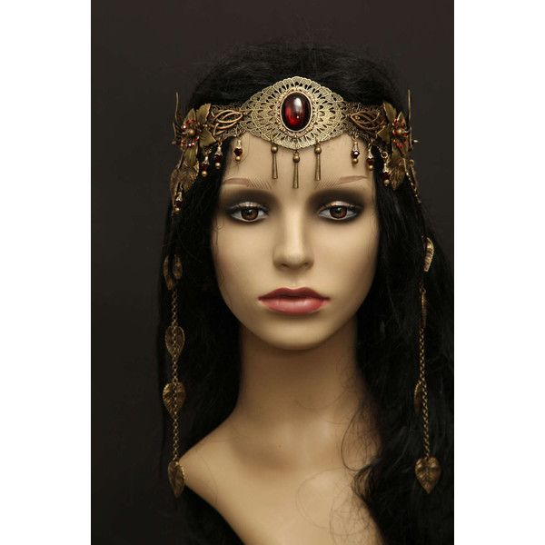 Filigree vintage Elfen headpiece crown tiara belly dance medieval... ($132) ❤ liked on Polyvore featuring costumes, vintage costumes, boho costume, vintage halloween costumes, renaissance costumes and bohemian costume