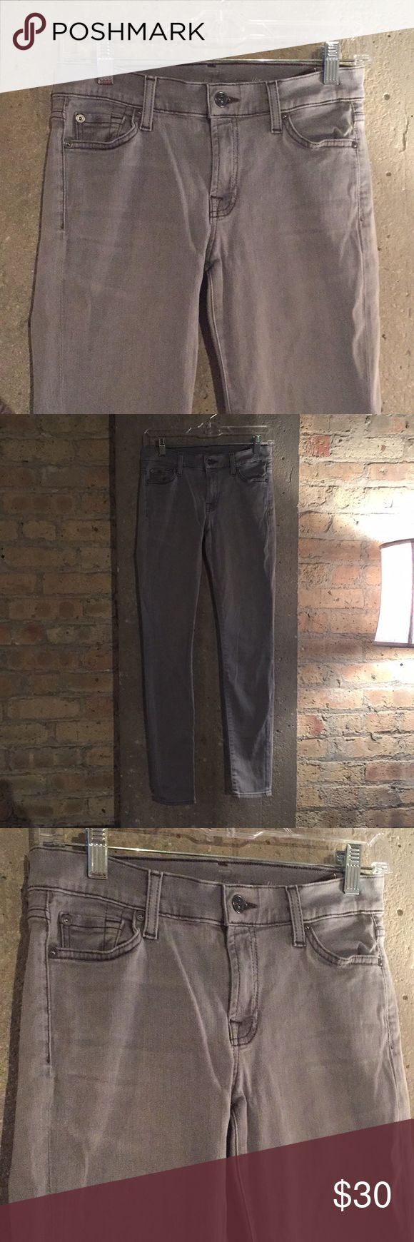 7 for All Mankind skinny light gray jeans size 27 Excellent condition and very comfortable. I am 5'7 around 135 lbs and these fit amazingly! The light grey is a really nice color and goes with lots of shirts/blouses. 7 For All Mankind Jeans Skinny