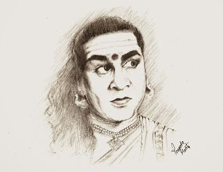Sketches and Drawings : AKKINENI NAGESWARA RAO as Chanakya - Pencil drawin...
