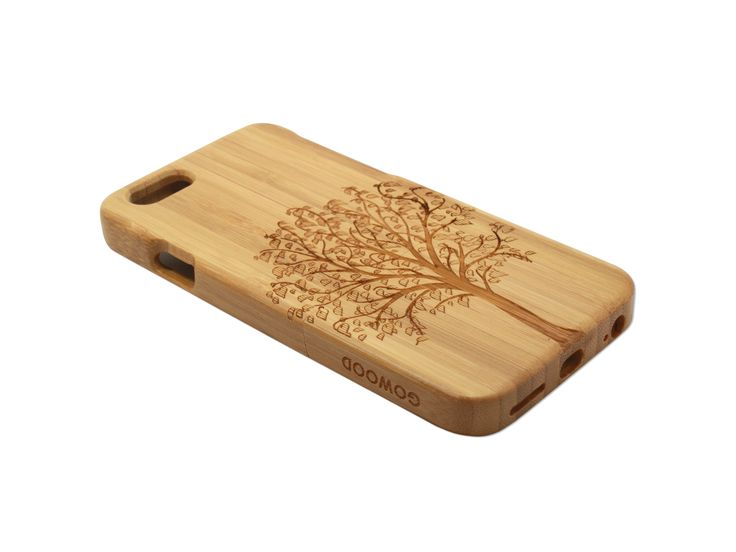 iPhone 6 phone case in bamboo with a beautiful art design of a tree on the back of the case | Go Wood #iPhone #iPhone6 #woodcase #phonecase #iPhonecase #iPhone6case #iPhonewoodcase #bamboo #tree #woodenphonecase