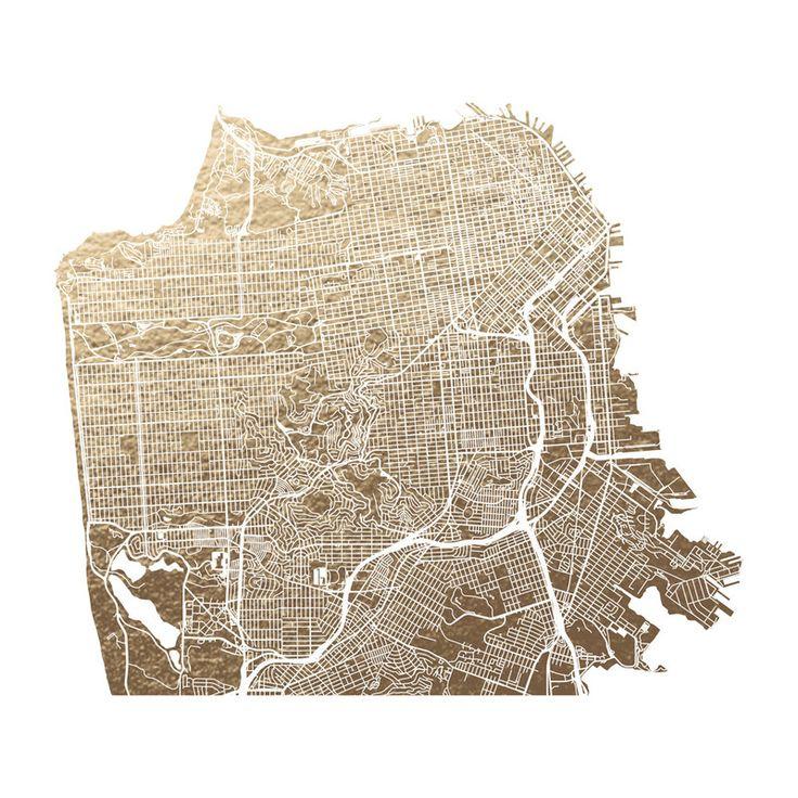 San Francisco Map Foil pressed Art Print