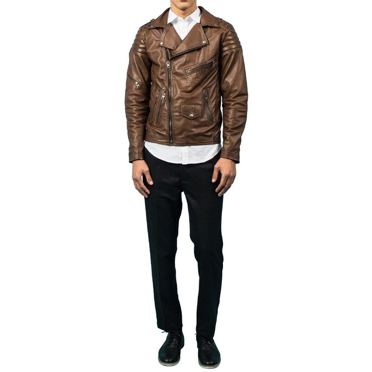 Mens Dark Brown Quilted Leather Jacket | by VIPARO