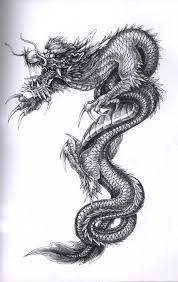 Resultado de imagen de dragon chino tattoo black and white