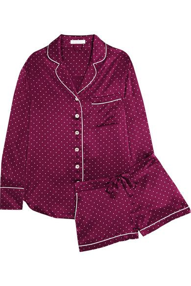 Alba polka-dot silk-satin pajama set