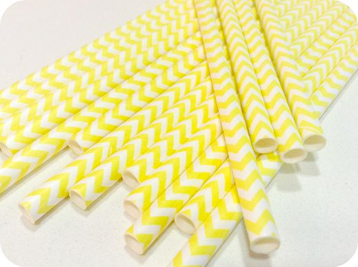 Pajitas de papel chevron amarillo - Shop We Love Parties Bcn