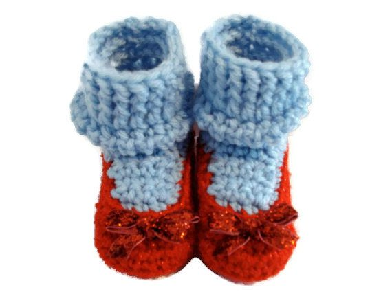 Dorothy's Slippers Crochet Shoes with Blue Socks Inspired by Wizard of Oz for Baby 3-6 Months Size on Etsy, Sold Amanda