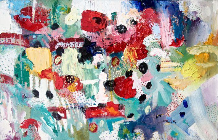Susanne Wawra, Melonenpunkte (Melon Dots), 2016, Mixed Media Painting, 51 x 35 cm.