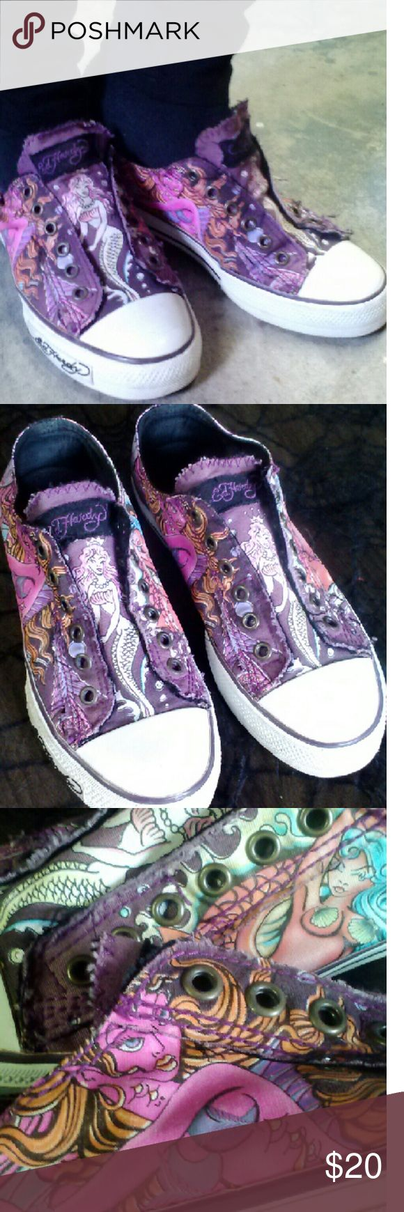 Sweet Kicks Beautiful tones of pink and purple color these sexy af mermaids. Converse style slip ons sneakers by the famed Ed Hardy.  Only worn once or twice. Like new. Ed Hardy Shoes Sneakers