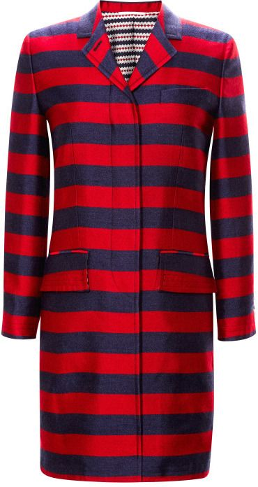 Thom Browne Striped Silk-Blend Chesterfield Coat | #Chic Only #Glamour Always