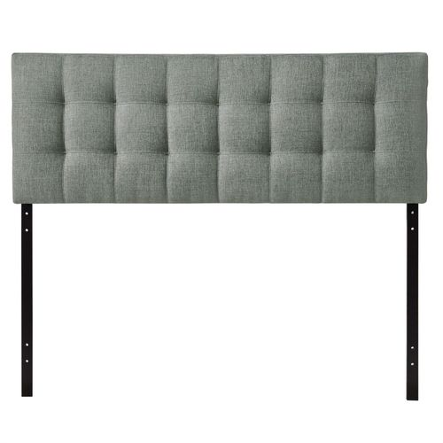 King size Grey Fabric Modern Button-Tufted Upholstered Headboard