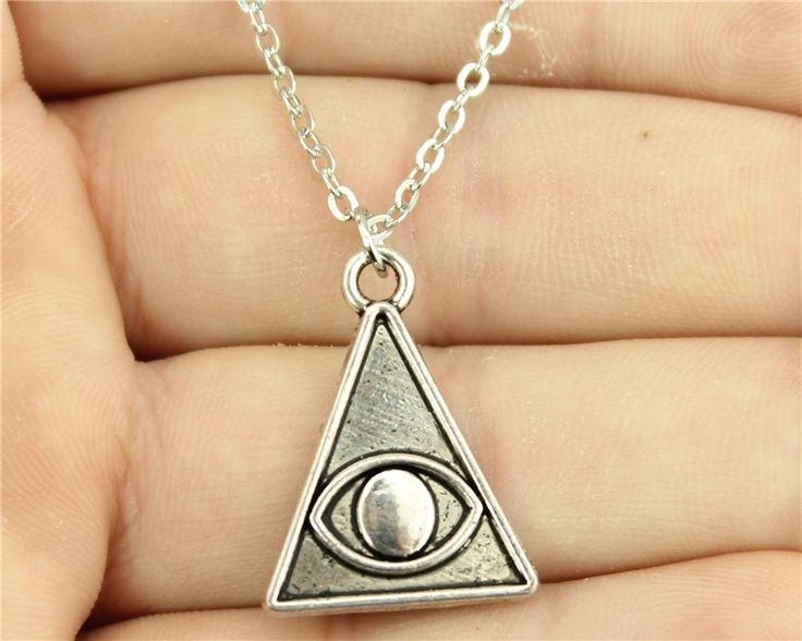 0.91$  Buy here - WYSIWYG simple vintage antique silver color 24*18mm Pyramid eye necklace   #buyonlinewebsite