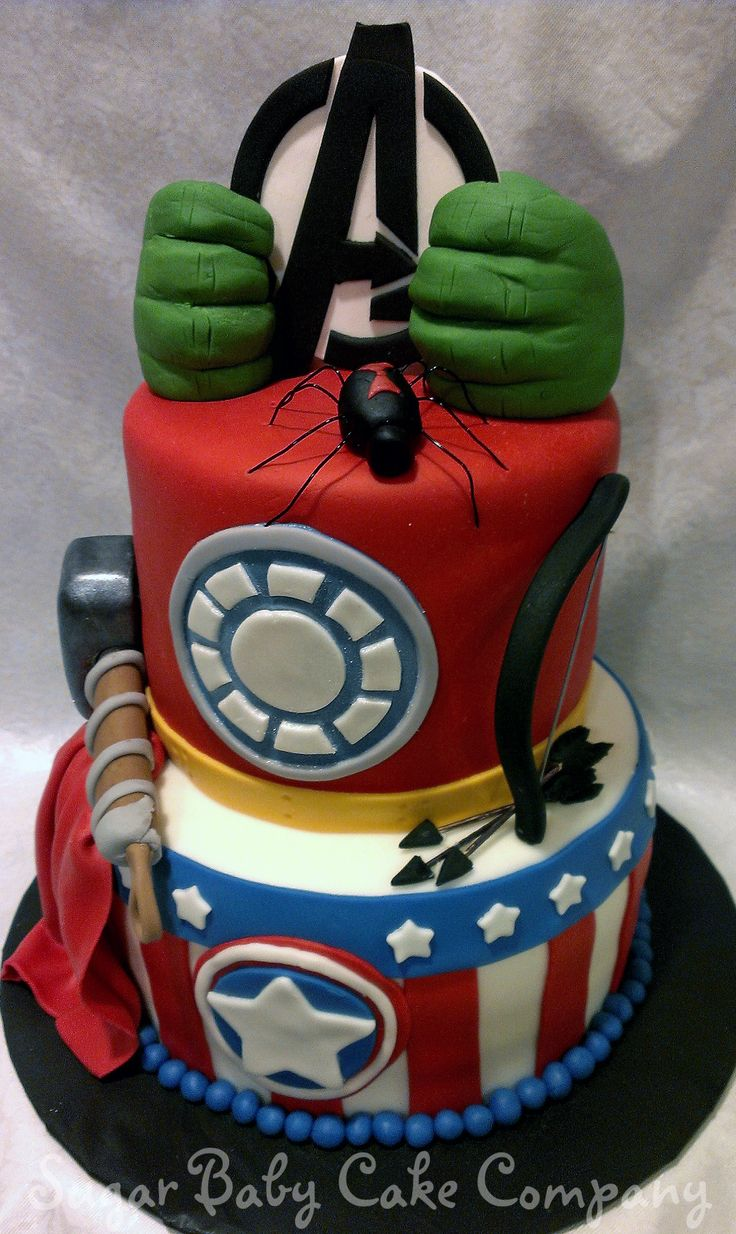 Avenger's Birthday Cake - An Avenger's Cake I made for a 4 year old little boys birthday. Hard to come up with something different than what's out there, but I think I accomplished that with the Hulk hands on the Avenger's Logo.