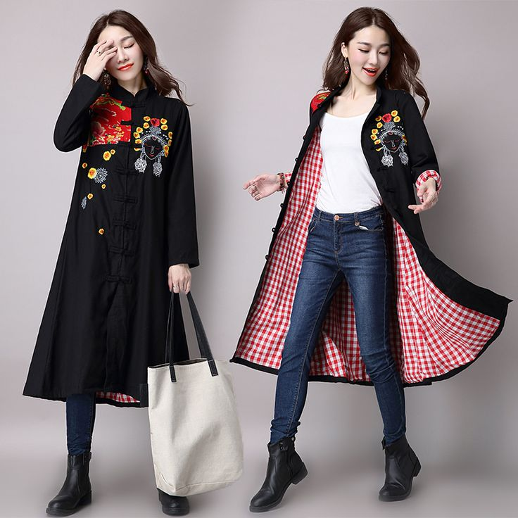 2017 Autumn Ethnic cotton Linen Women's Coat Embroidery Patchwork Plaid Iining Medium-long Outerwear trench for women YL7700