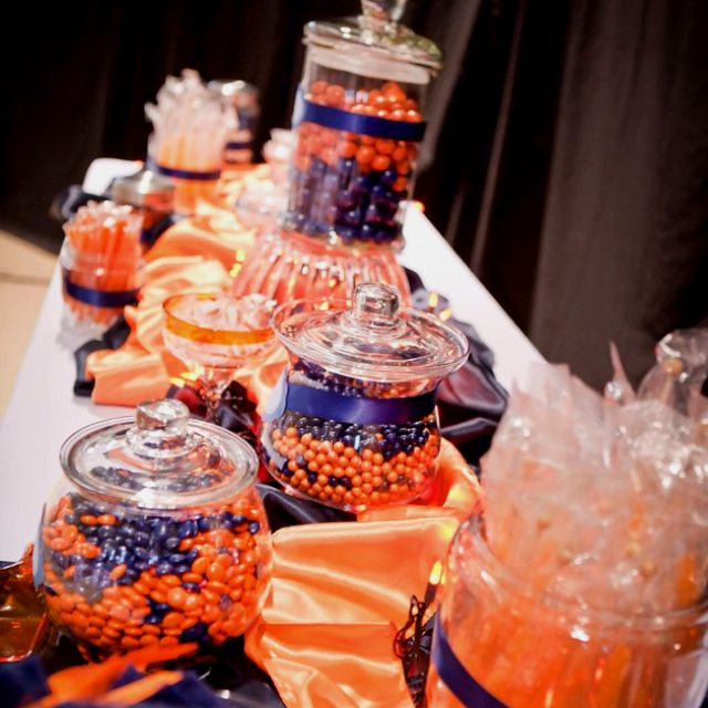 Candy buffet! Orange and navy