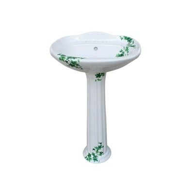 Superb Ivy Design Decorated On A Petite White Traditional Pedestal Sink. Made In  The USA By